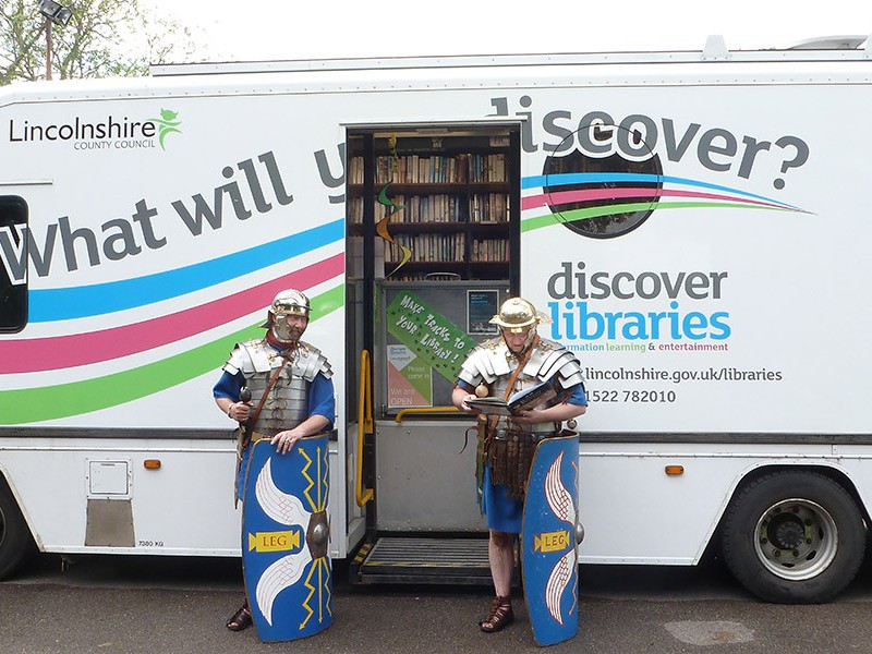 The 'Marsh Mobile' library van at Burgh-le-Marsh Roman weekend. Credit: Joe Blissett