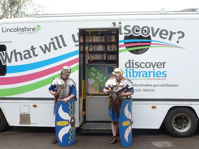 The 'Marsh Mobile' library van at Burgh-le-Marsh Roman weekend. Credit: Joe Blissett